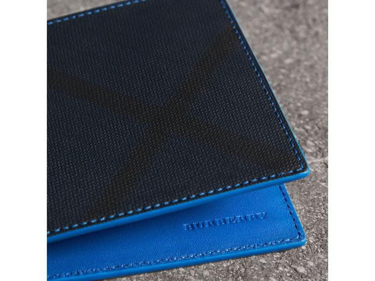 London Check and Leather International Bifold Wallet in Navy/ Blue - Men | Burberry Canada - cell image 1