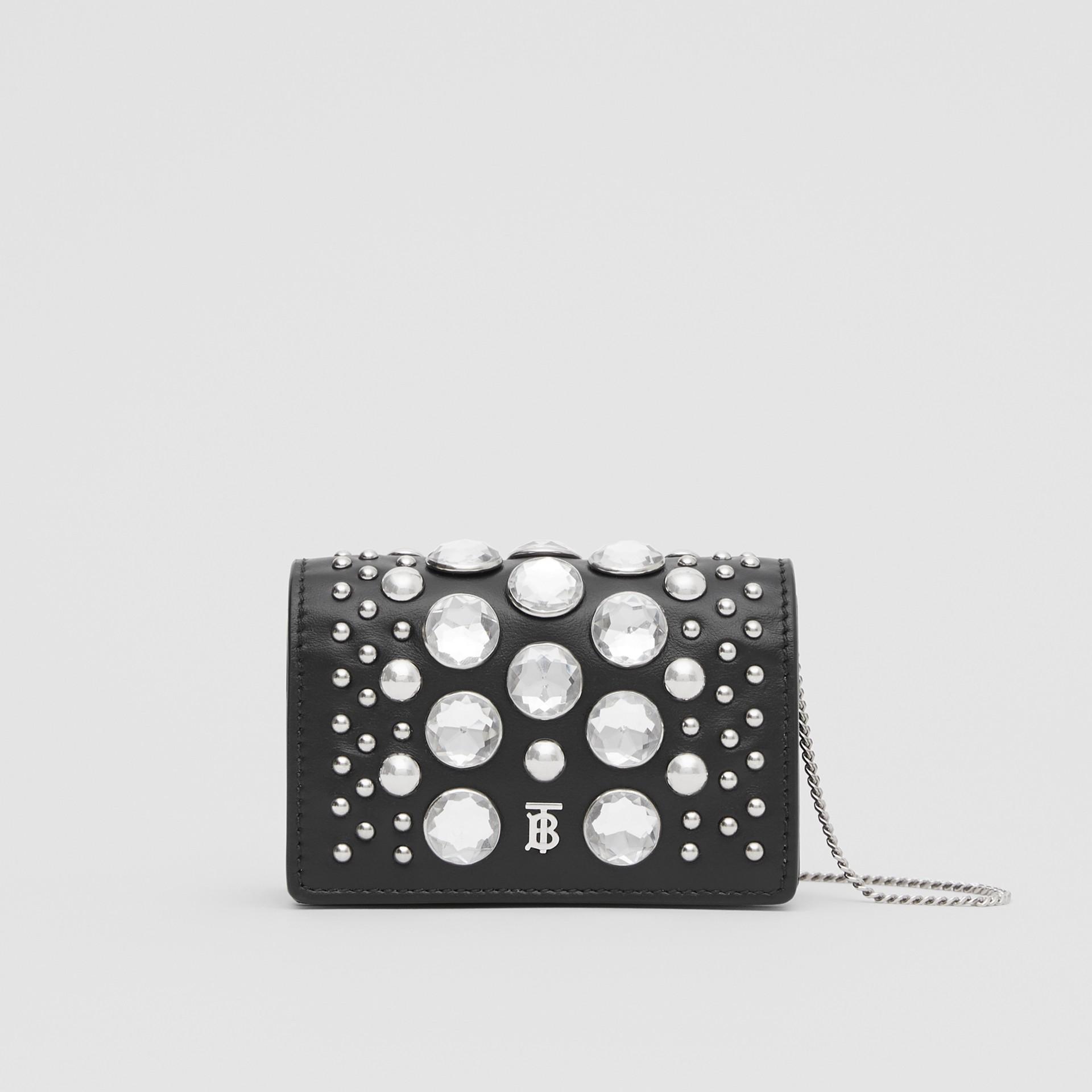 Porte-cartes en cuir avec ornements et sangle amovible (Noir)   Burberry Canada - photo de la galerie 0