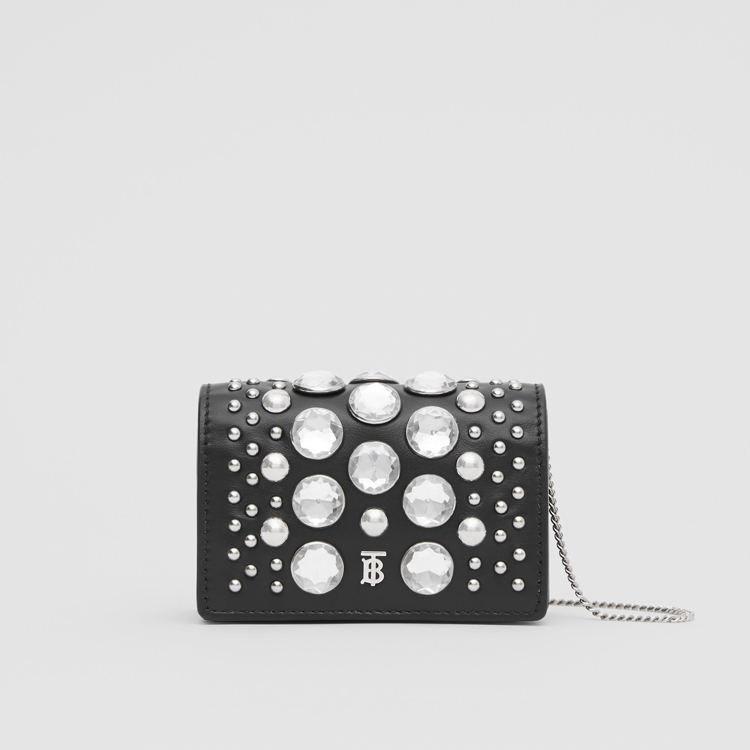 Embellished Card Case with Detachable Strap in Black | Burberry - 1