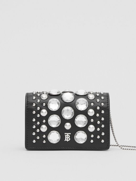 Embellished Card Case with Detachable Strap in Black