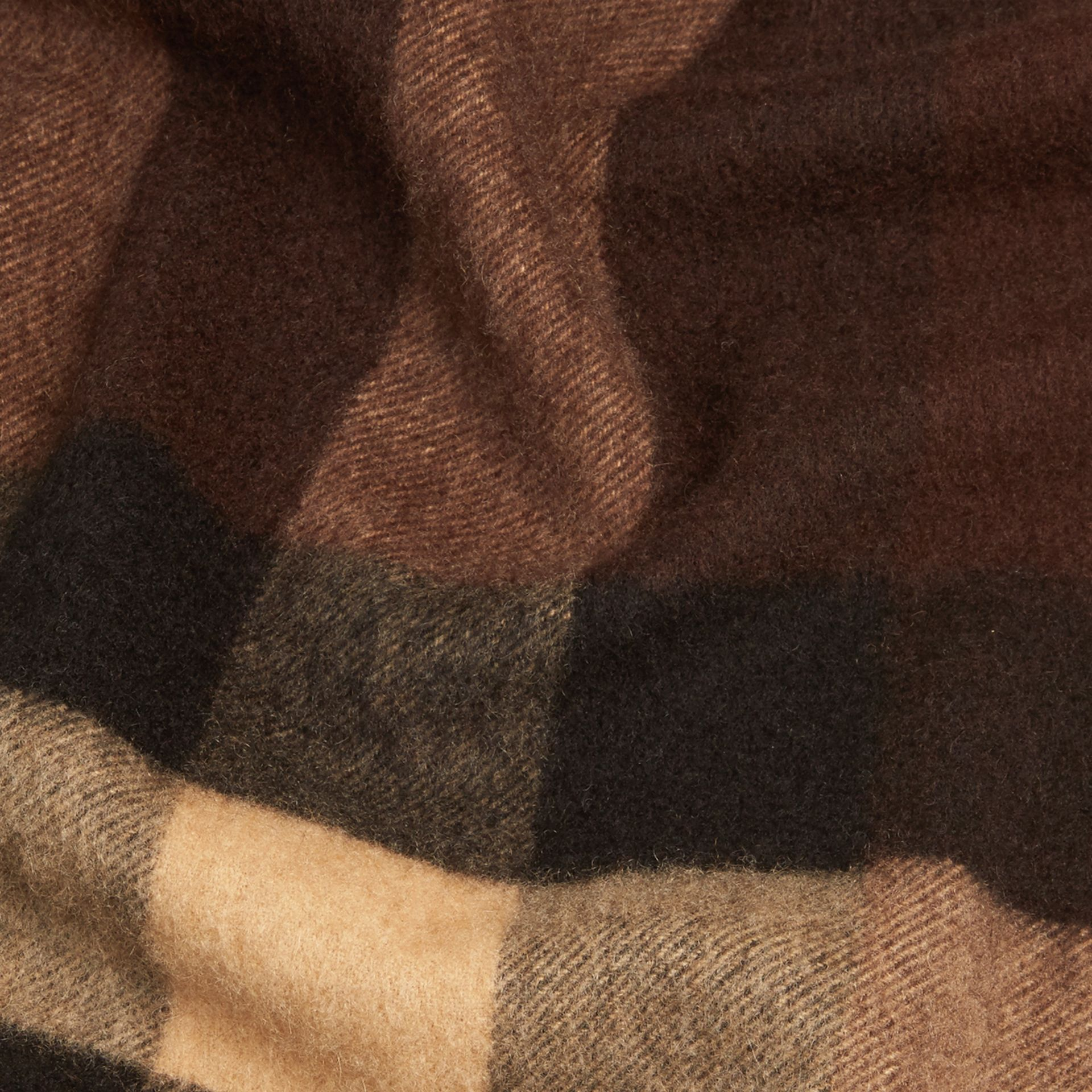 Dark chestnut brown check Giant Exploded Check Cashmere Scarf - gallery image 2