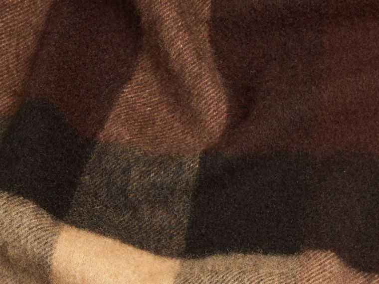 Dark chestnut brown check Giant Exploded Check Cashmere Scarf - cell image 1