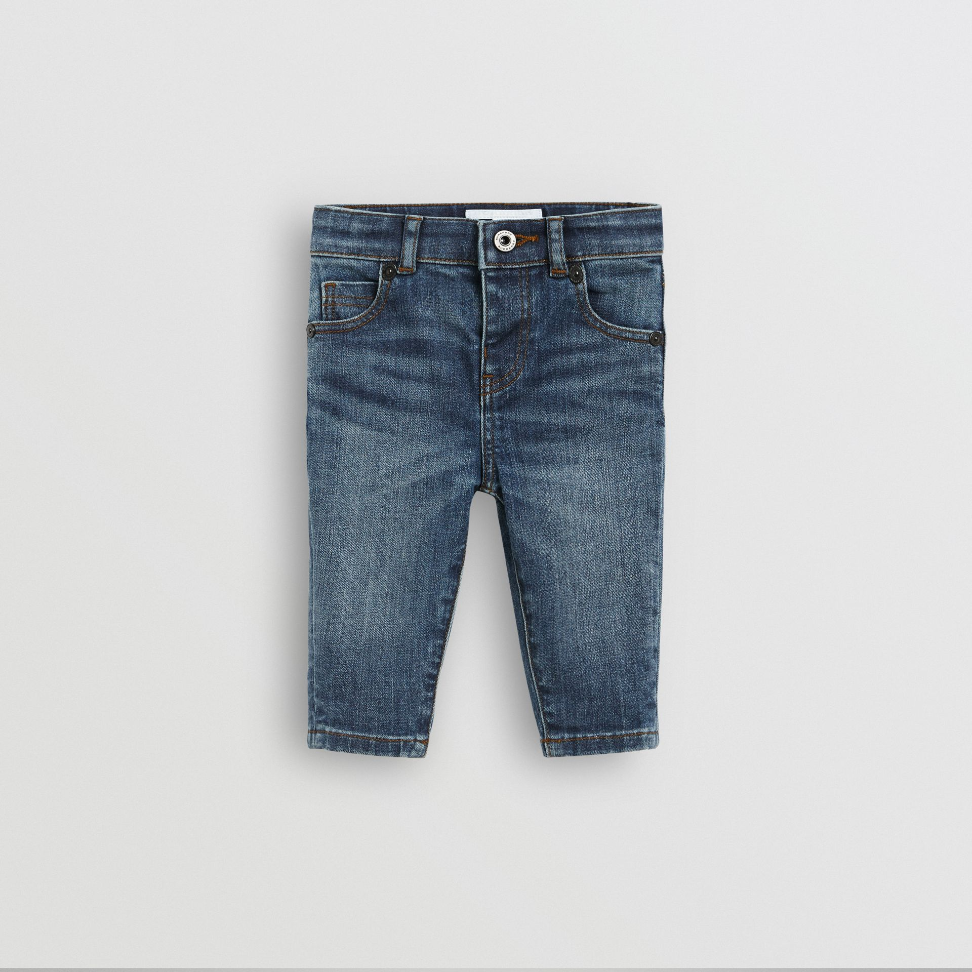 Skinny Fit Stretch Denim Jeans in Mid Indigo - Children | Burberry - gallery image 0