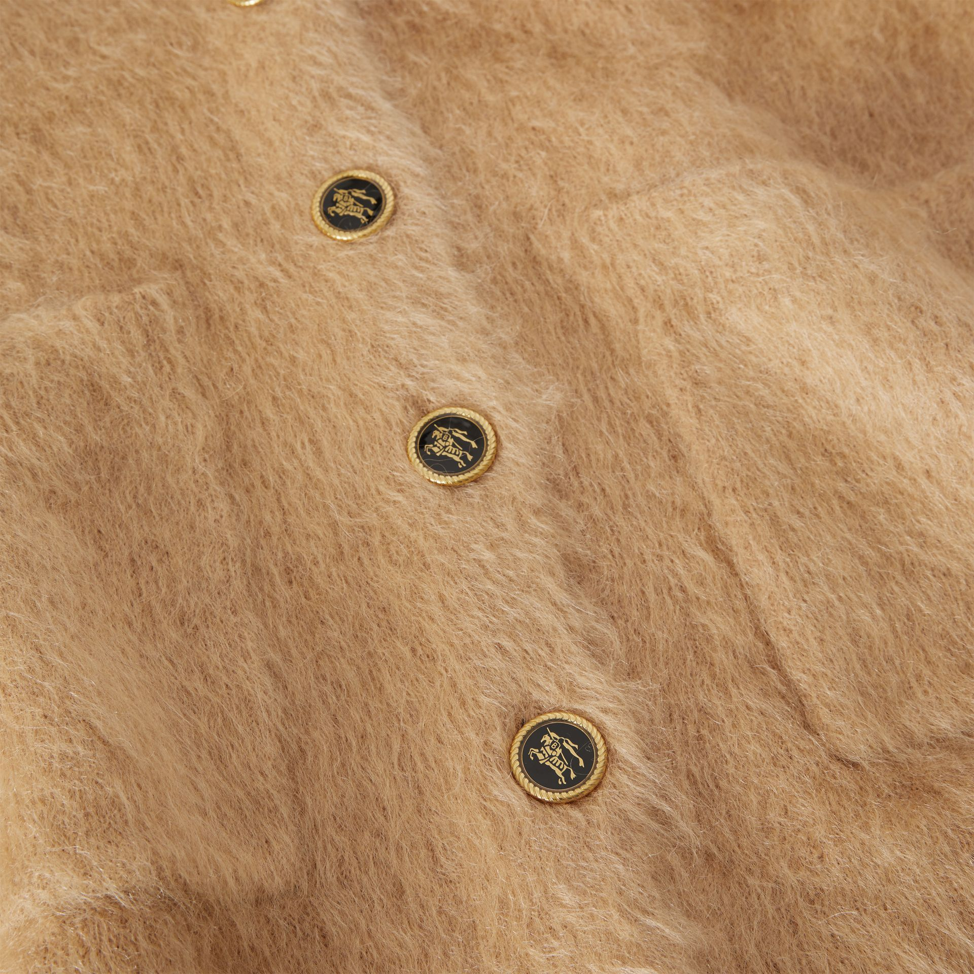 Silk Mohair Wool Blend V-neck Cardigan in Light Camel - Women | Burberry Australia - gallery image 5