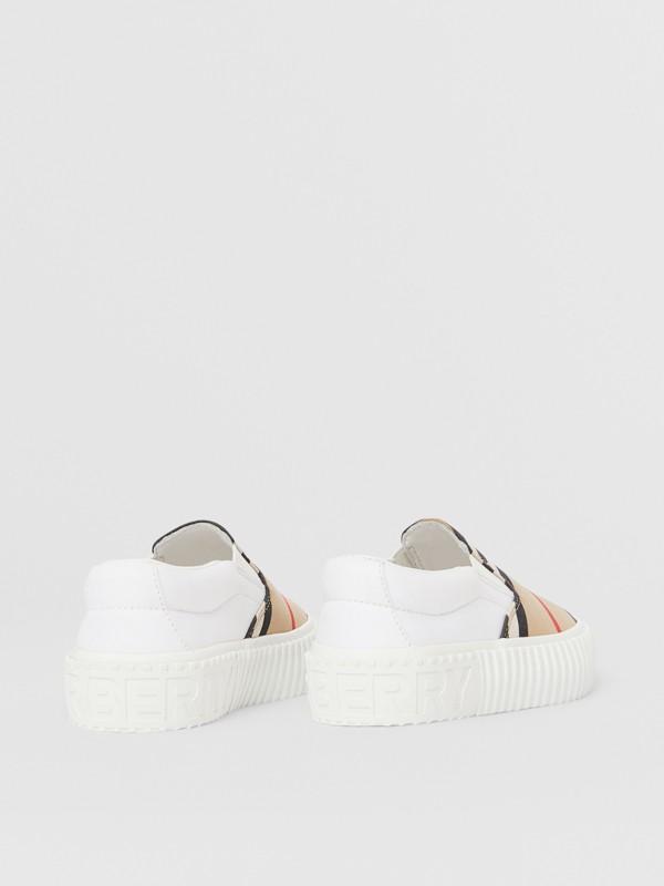 Zapatillas deportivas sin cordones en algodón a rayas Icon Stripe (Beige Vintage) - Niños | Burberry - cell image 2