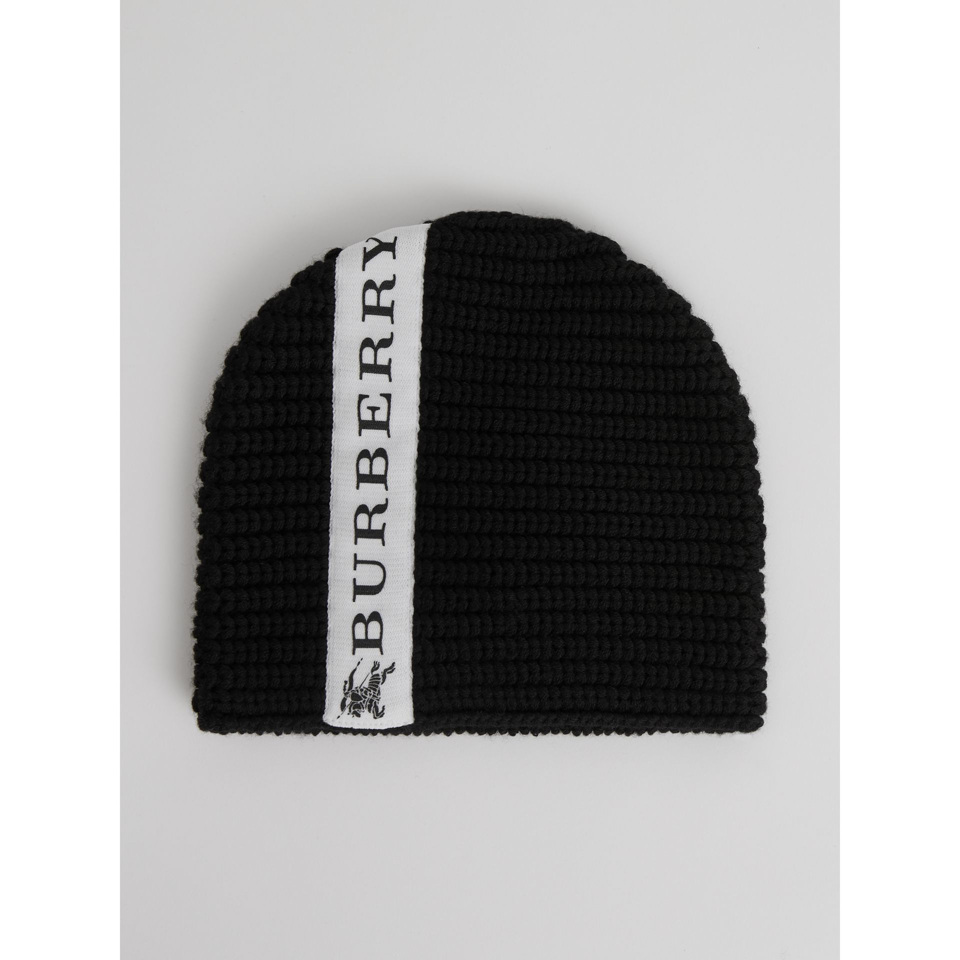 Logo Stripe Wool Beanie in Black | Burberry United Kingdom - gallery image 2