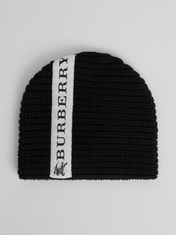 Logo Stripe Wool Beanie in Black | Burberry - cell image 2