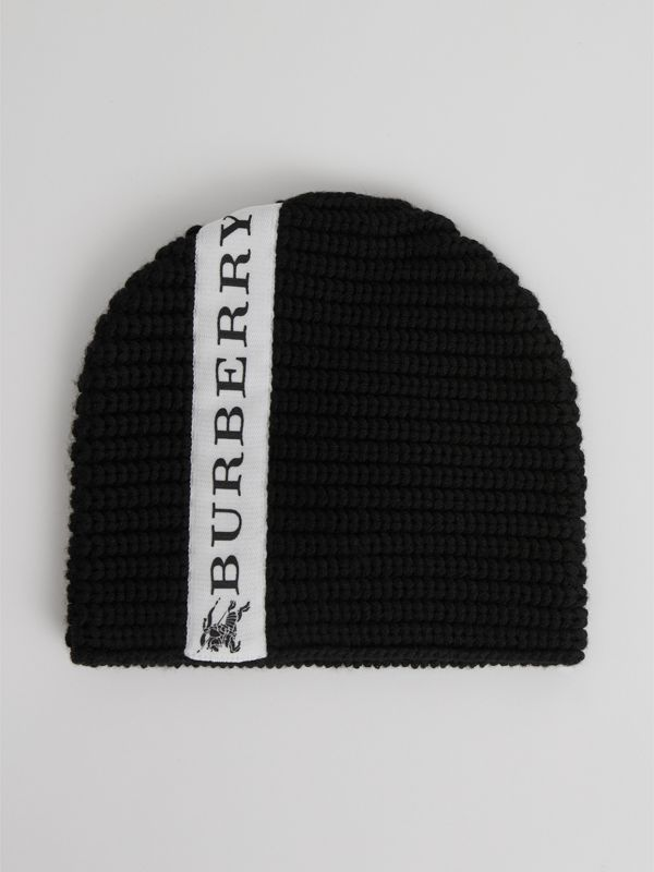 Logo Stripe Wool Beanie in Black | Burberry Singapore - cell image 2