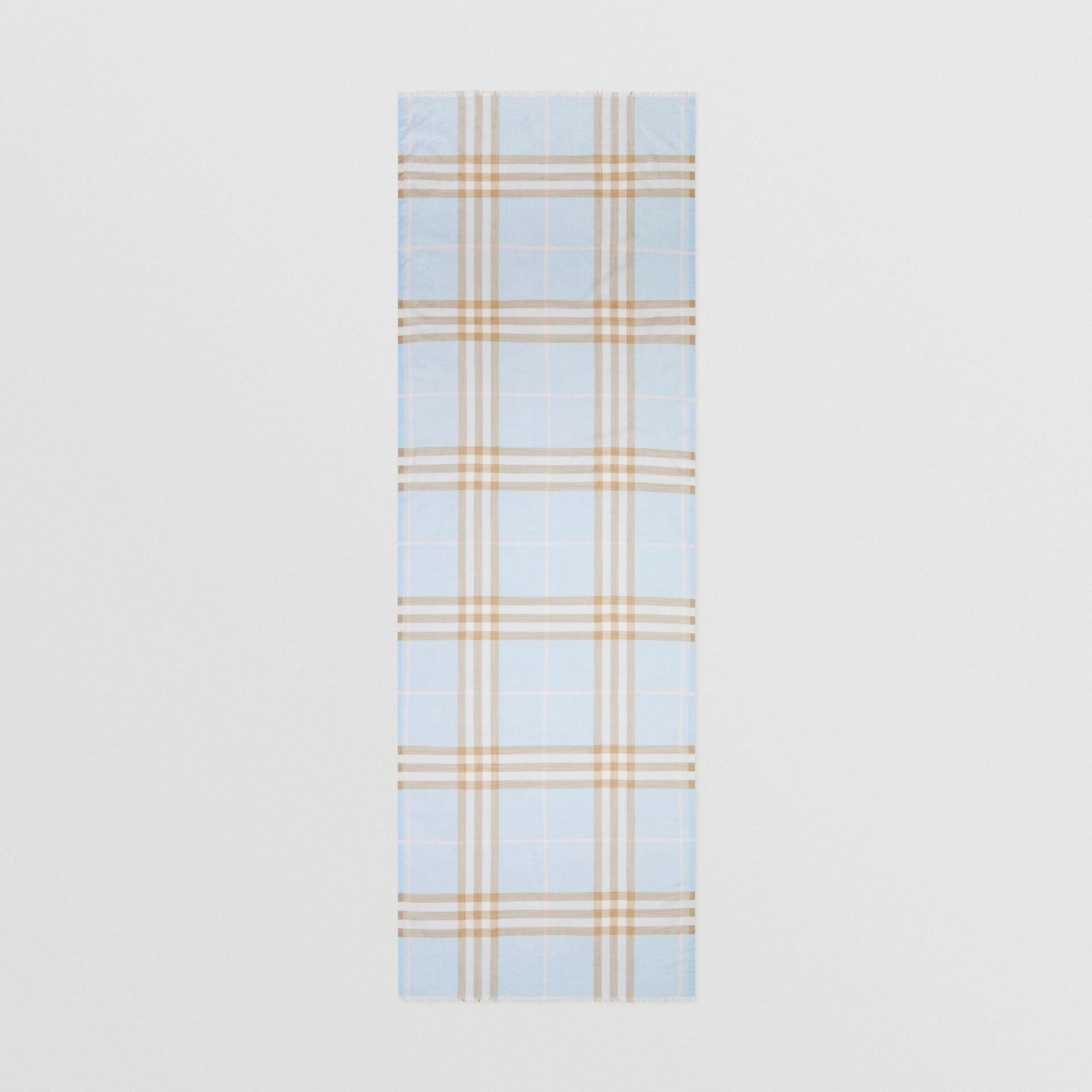Lightweight Check Wool Silk Scarf in Pale Blue | Burberry - gallery image 5