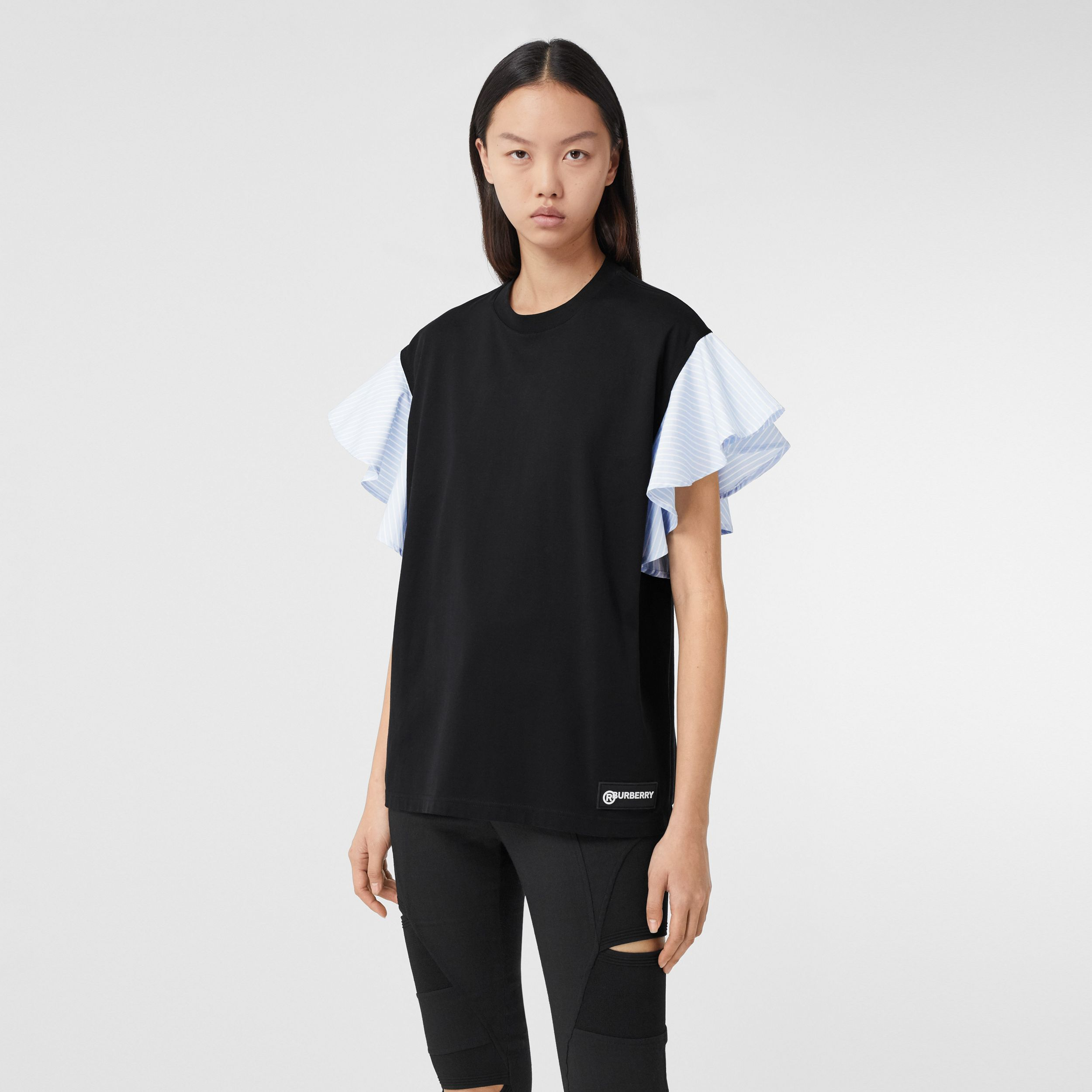 Ruffled Sleeve Cotton Oversized T-shirt in Black - Women | Burberry - 1