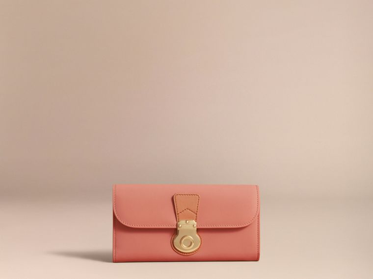 Two-tone Trench Leather Continental Wallet Ash Rose/pale Clementine - cell image 4