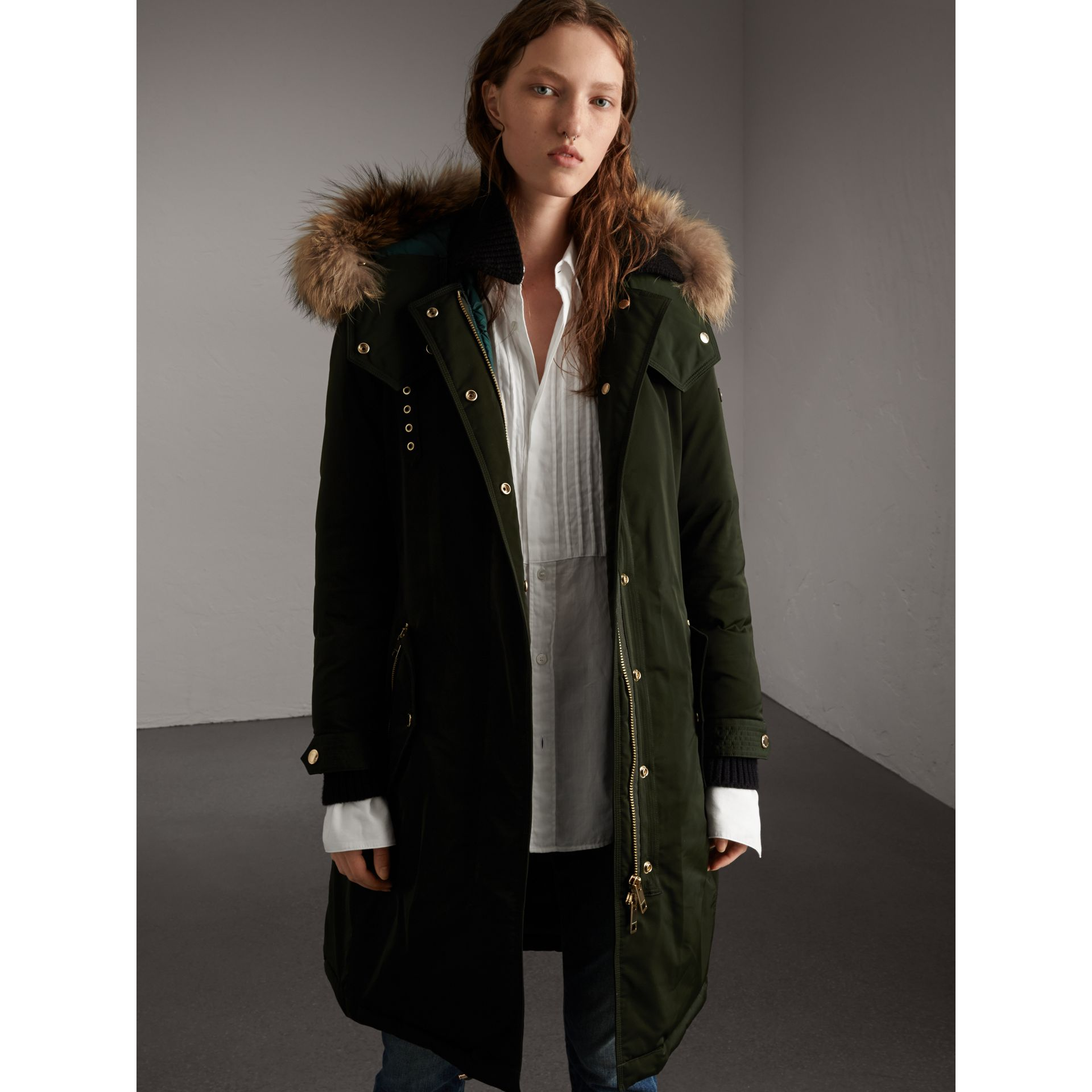 Down-filled Parka Coat with Detachable Fur Trim in Dark Cedar Green - Women | Burberry United States - gallery image 1