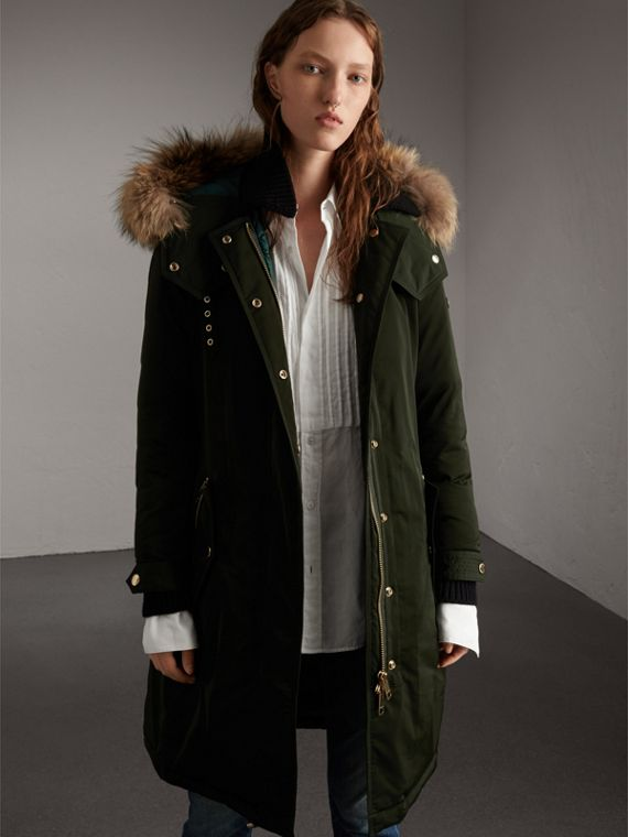Down-filled Parka Coat with Detachable Fur Trim in Dark Cedar Green - Women | Burberry Singapore