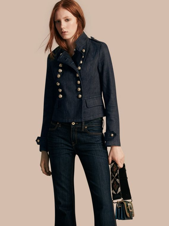Veste militaire en denim stretch