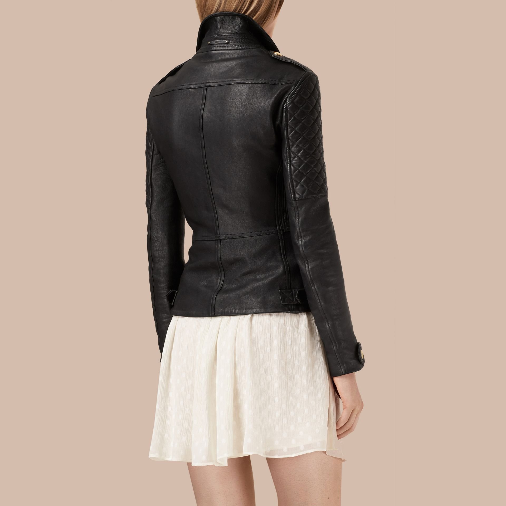 Black Diamond Quilted Detail Lambskin Biker Jacket - gallery image 4