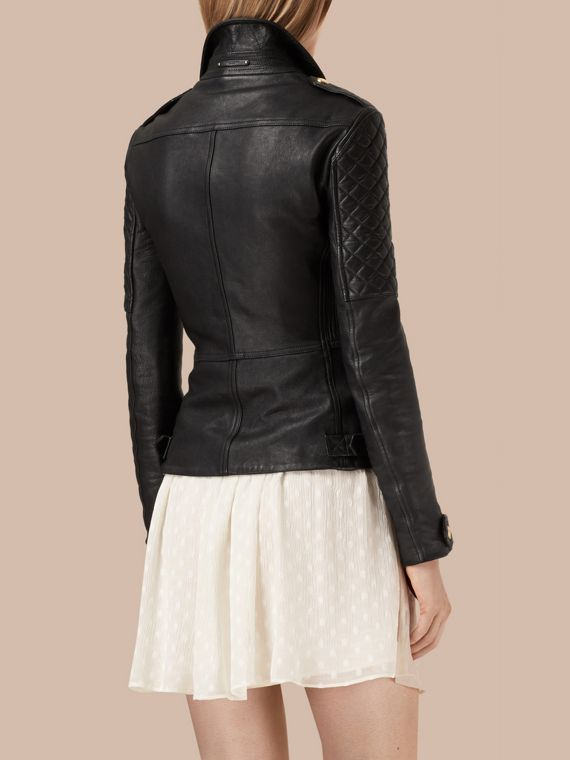 Black Diamond Quilt Detail Leather Biker Jacket - cell image 3