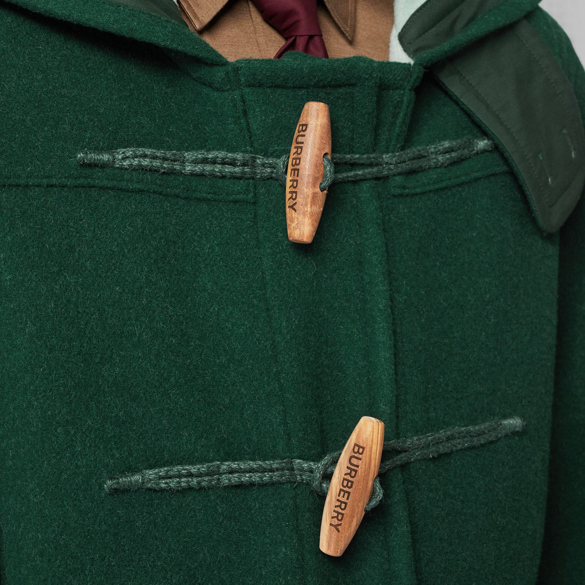 Stripe Detail Double-faced Wool Duffle Coat in Dark Pine Green - Men | Burberry United Kingdom - gallery image 5
