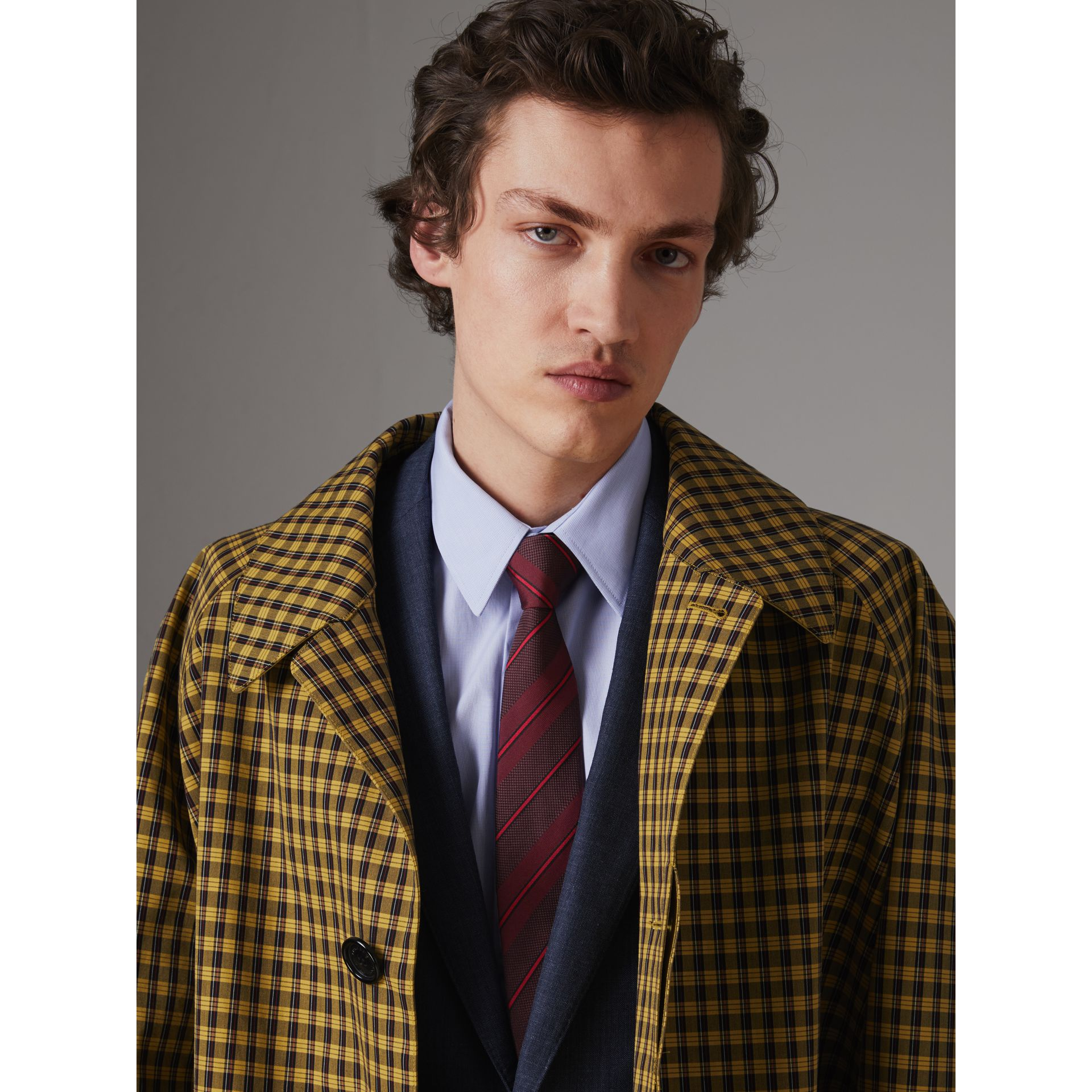 Modern Cut Striped Silk Tie in Deep Claret - Men | Burberry Singapore - gallery image 2