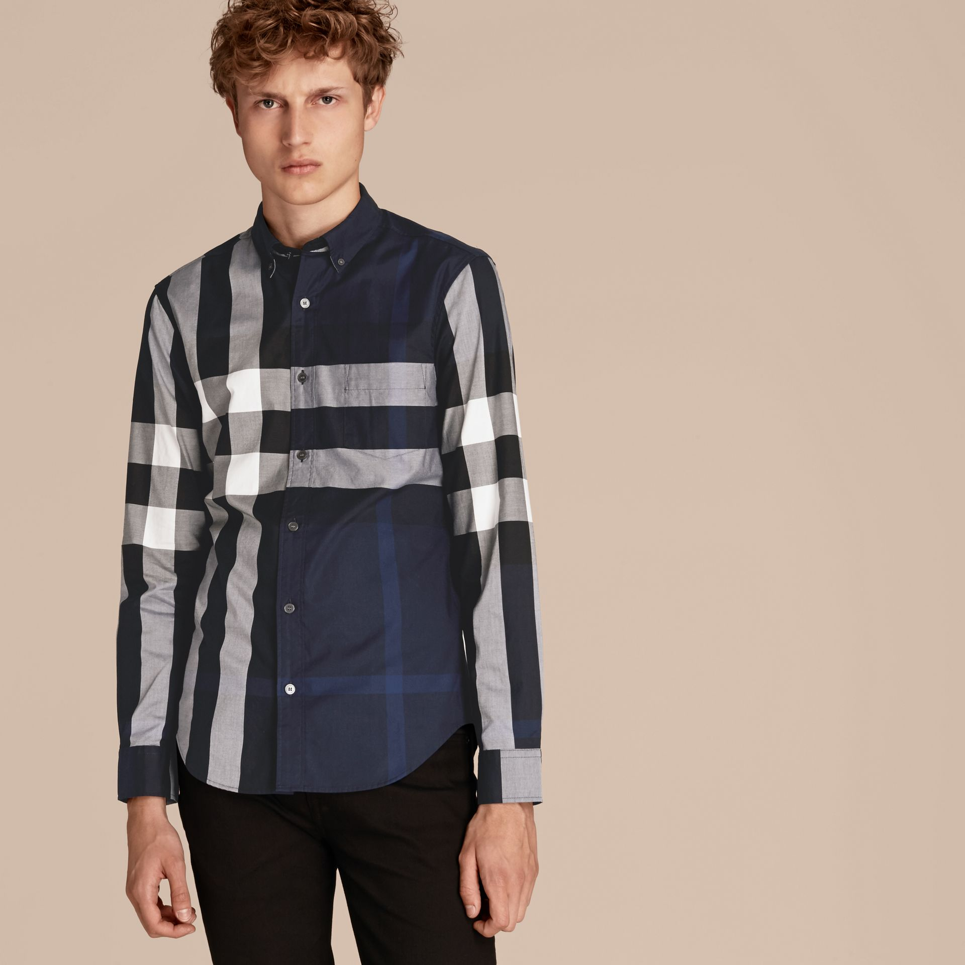 Indigo blue Check Cotton Shirt Indigo Blue - gallery image 6