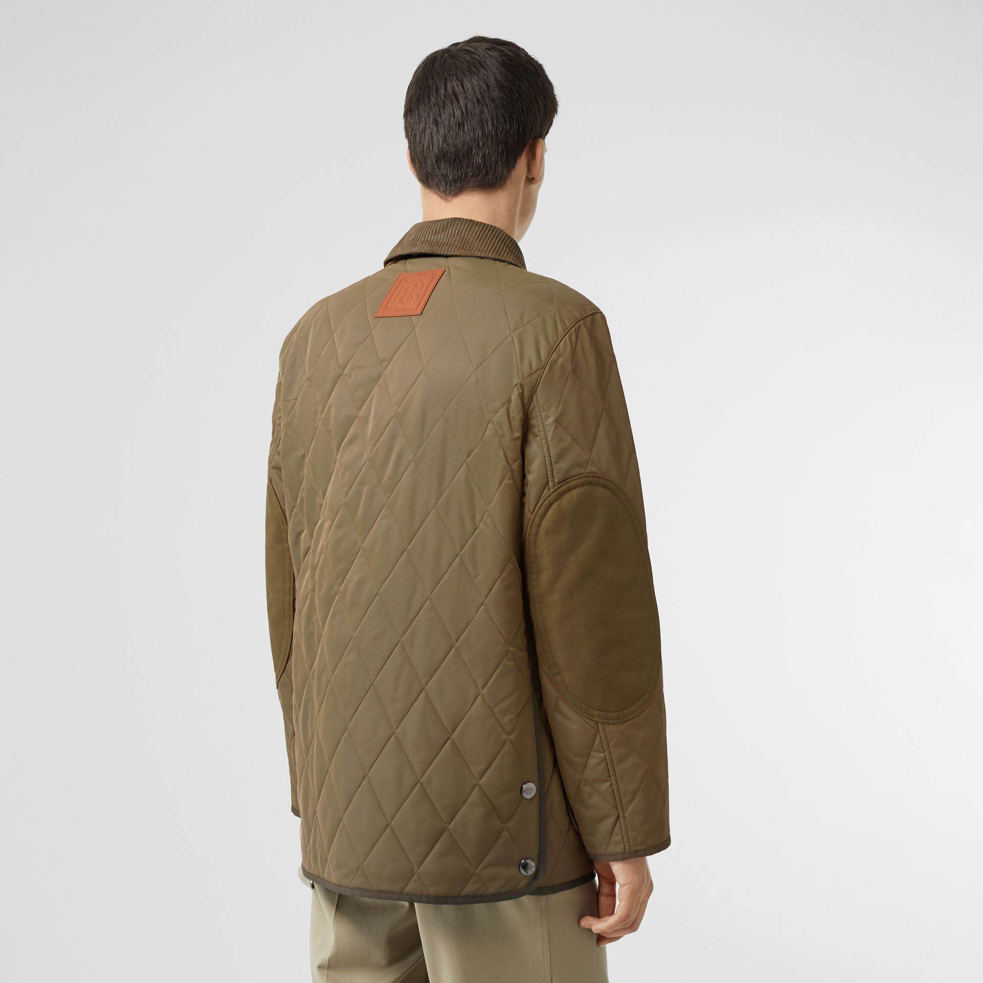 Diamond Quilted Thermoregulated Barn Jacket in Dark Olive - Men | Burberry Australia - gallery image 2