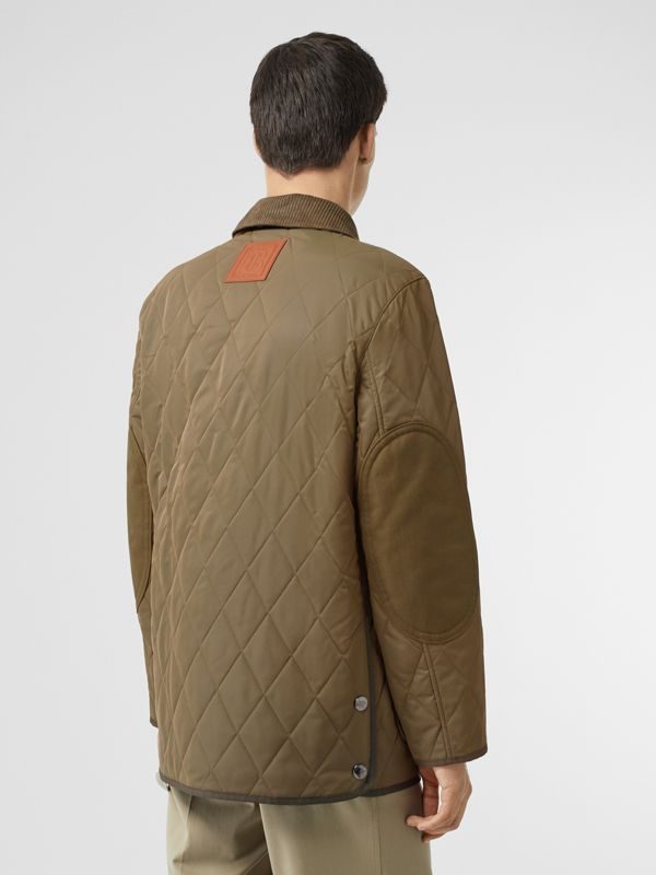Diamond Quilted Thermoregulated Barn Jacket in Dark Olive - Men | Burberry Australia - cell image 2