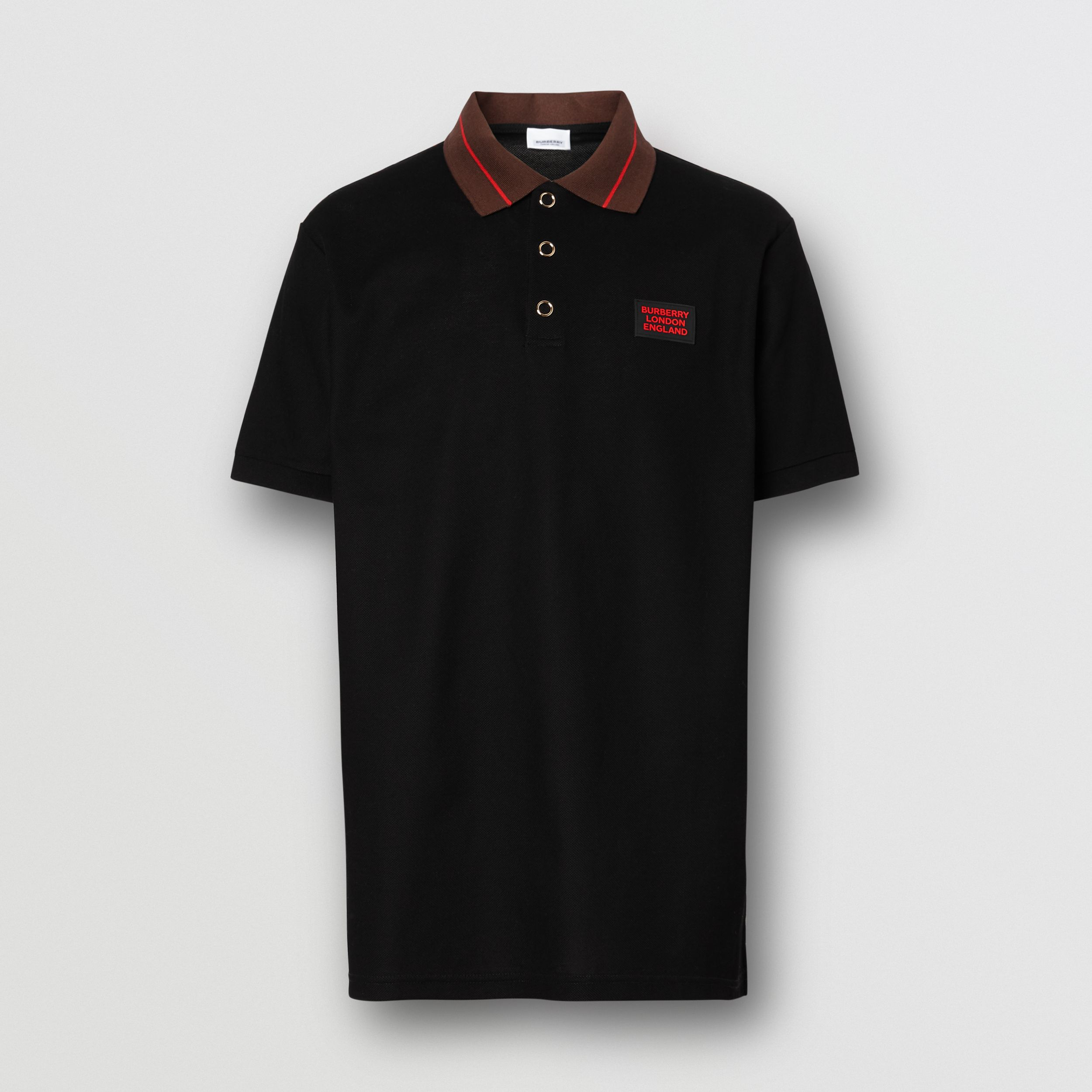 Logo Detail Cotton Piqué Polo Shirt in Black - Men | Burberry - 4