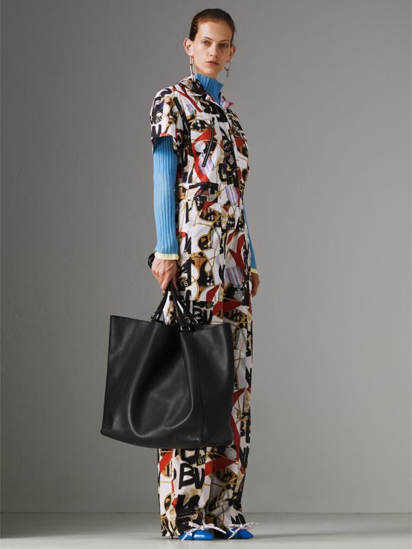 Large Bonded Leather Tote in Black | Burberry Hong Kong - cell image 2
