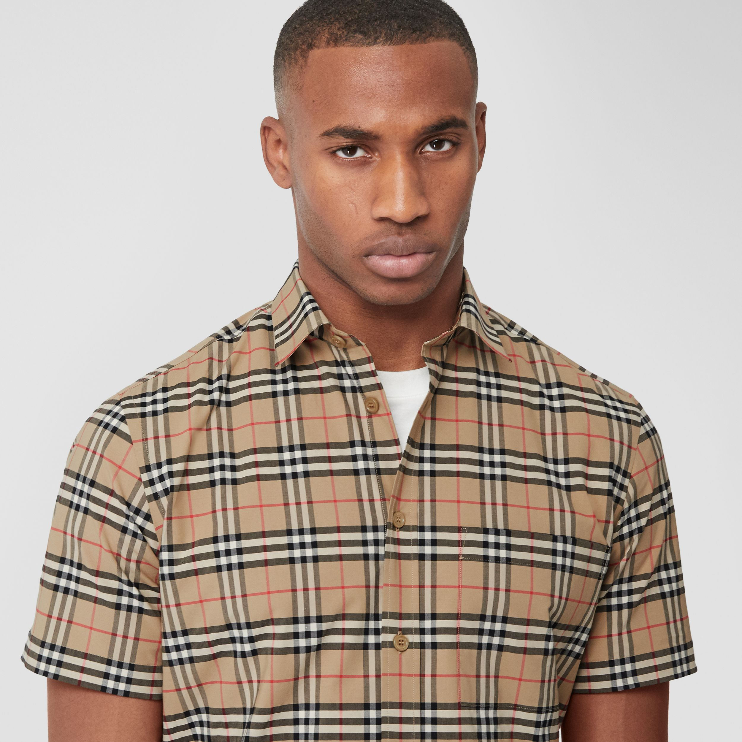 Short-sleeve Small Scale Check Stretch Cotton Shirt in Archive Beige - Men | Burberry - 2