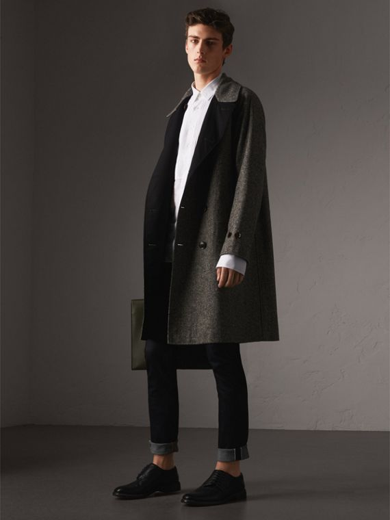 Trench coat dupla face de gabardine e tweed Donegal (Preto)