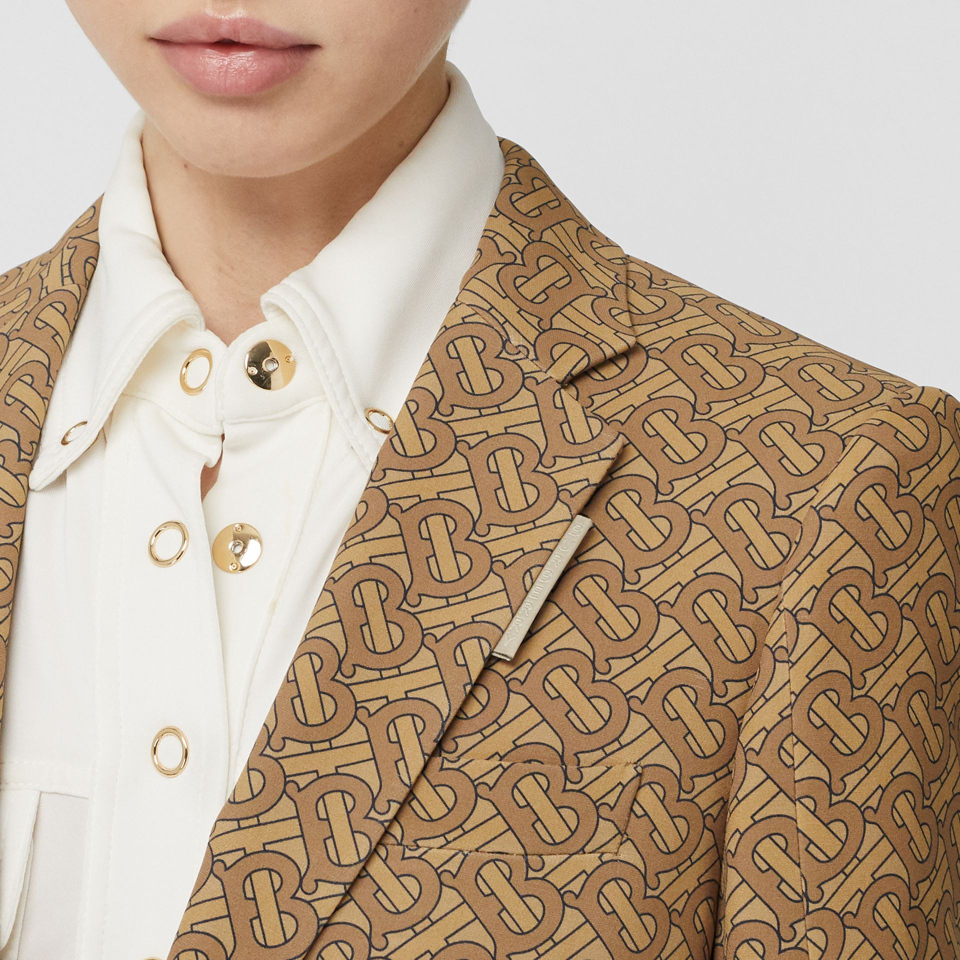 Monogram Print Silk Tailored Jacket in Tawny - Women | Burberry - gallery image 1