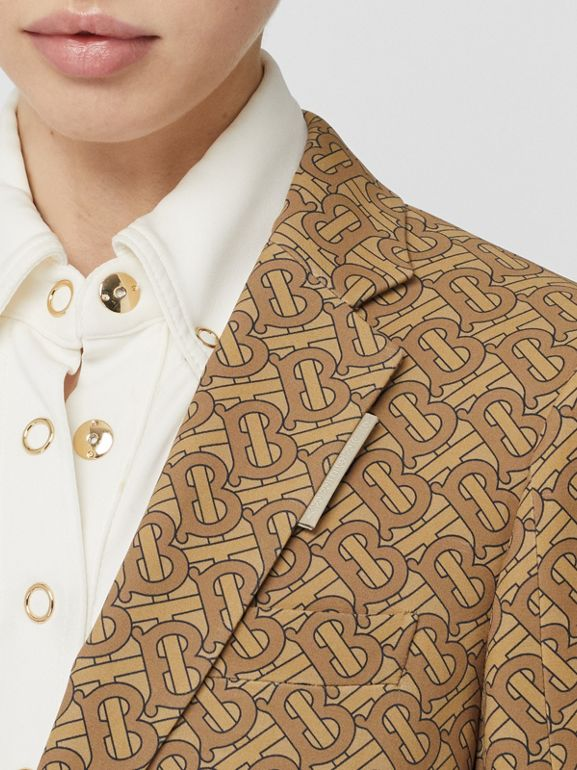 Monogram Print Silk Tailored Jacket in Tawny - Women | Burberry Australia - cell image 1