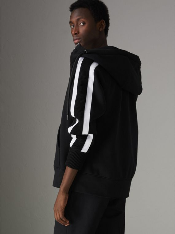 Stripe Detail Cotton Blend Jersey Hooded Top in Black - Men | Burberry Australia - cell image 2
