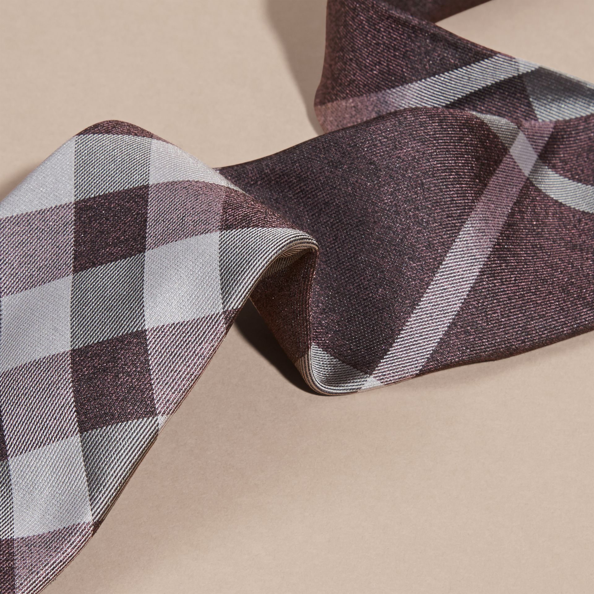 Heather Modern Cut Check Jacquard Silk Tie Heather - gallery image 2