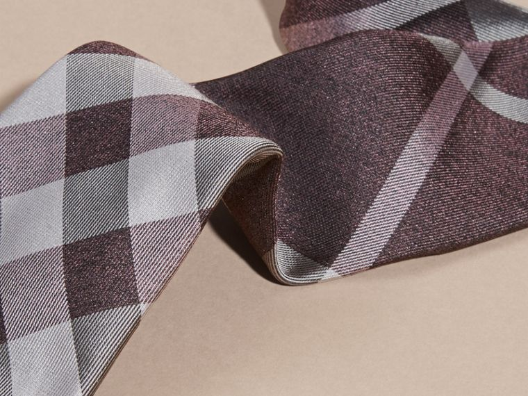 Heather Modern Cut Check Jacquard Silk Tie Heather - cell image 1
