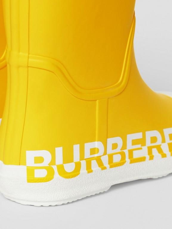 Двухцветные резиновые сапоги с логотипом (Канареечно-желтый) - Для детей | Burberry - cell image 1