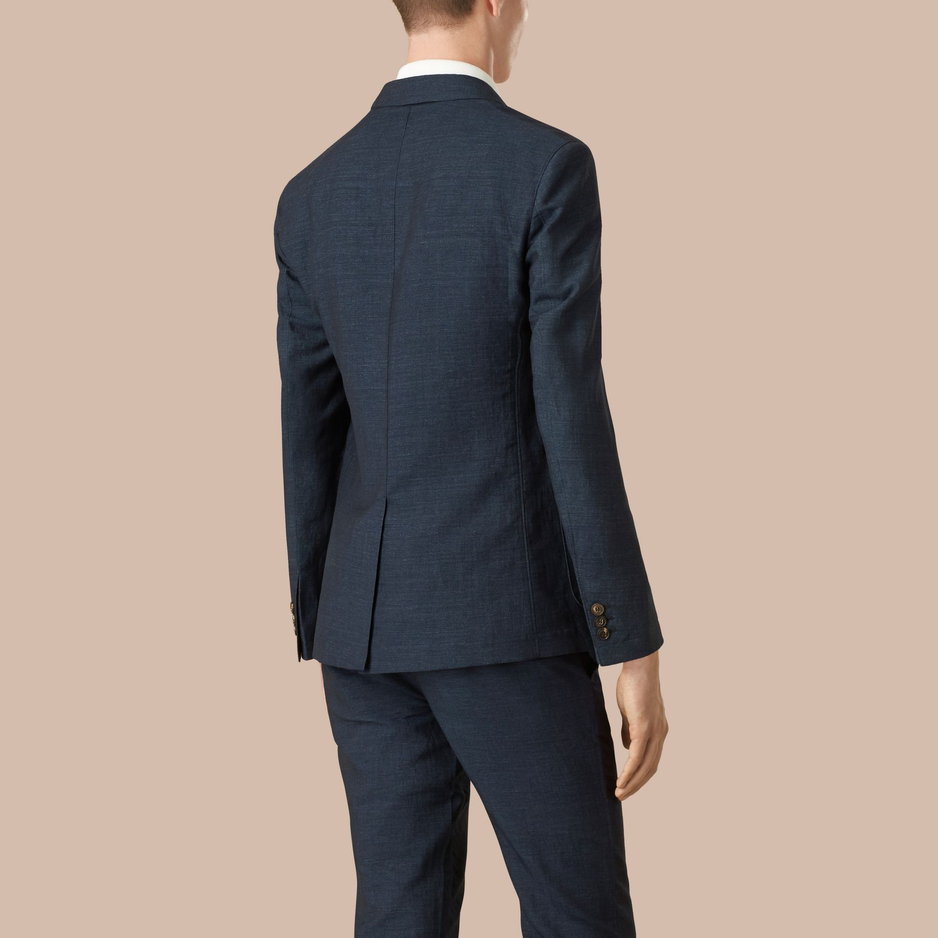 Navy Slim Fit Linen Cotton Blazer - gallery image 3