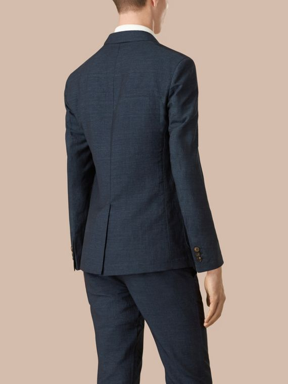 Navy Slim Fit Linen Cotton Blazer - cell image 2