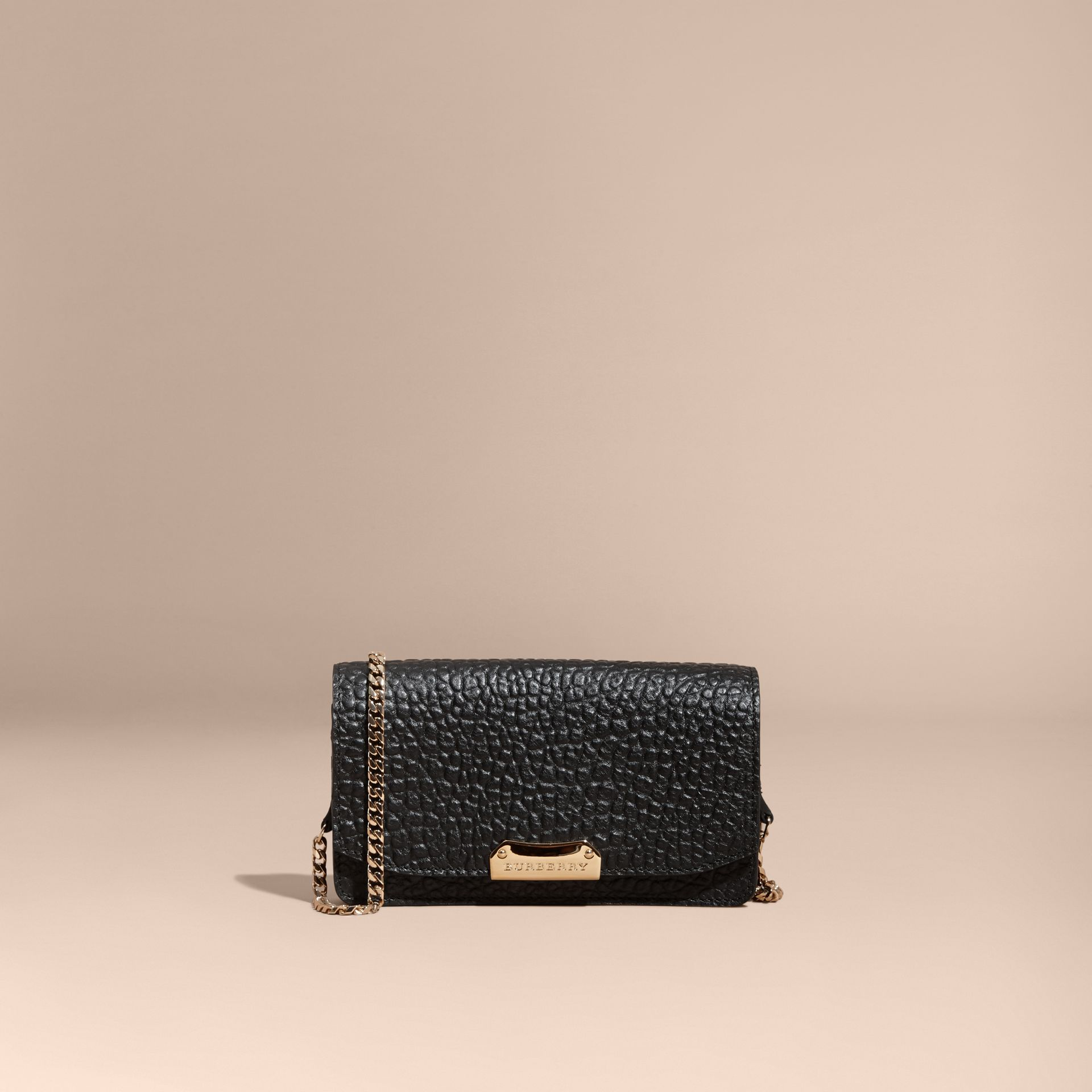 Black Small Signature Grain Leather Clutch Bag with Chain - gallery image 9
