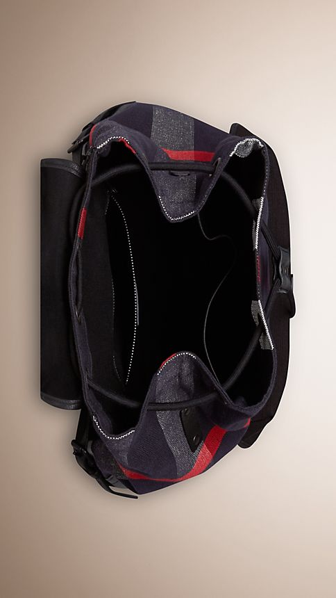 Navy Canvas Check Backpack - Image 5