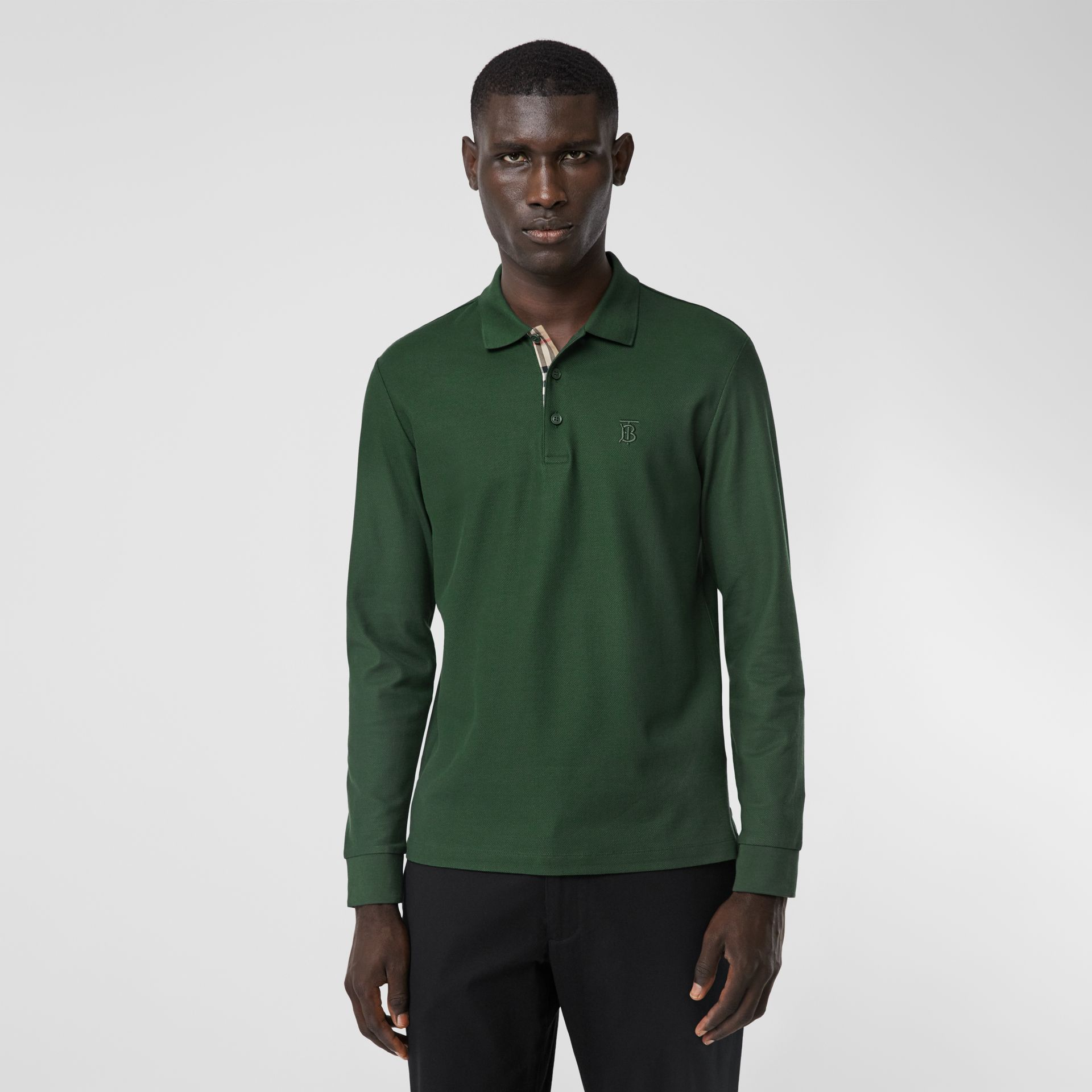 Long-sleeve Monogram Motif Cotton Piqué Polo Shirt in Dark Pine Green - Men | Burberry - gallery image 4