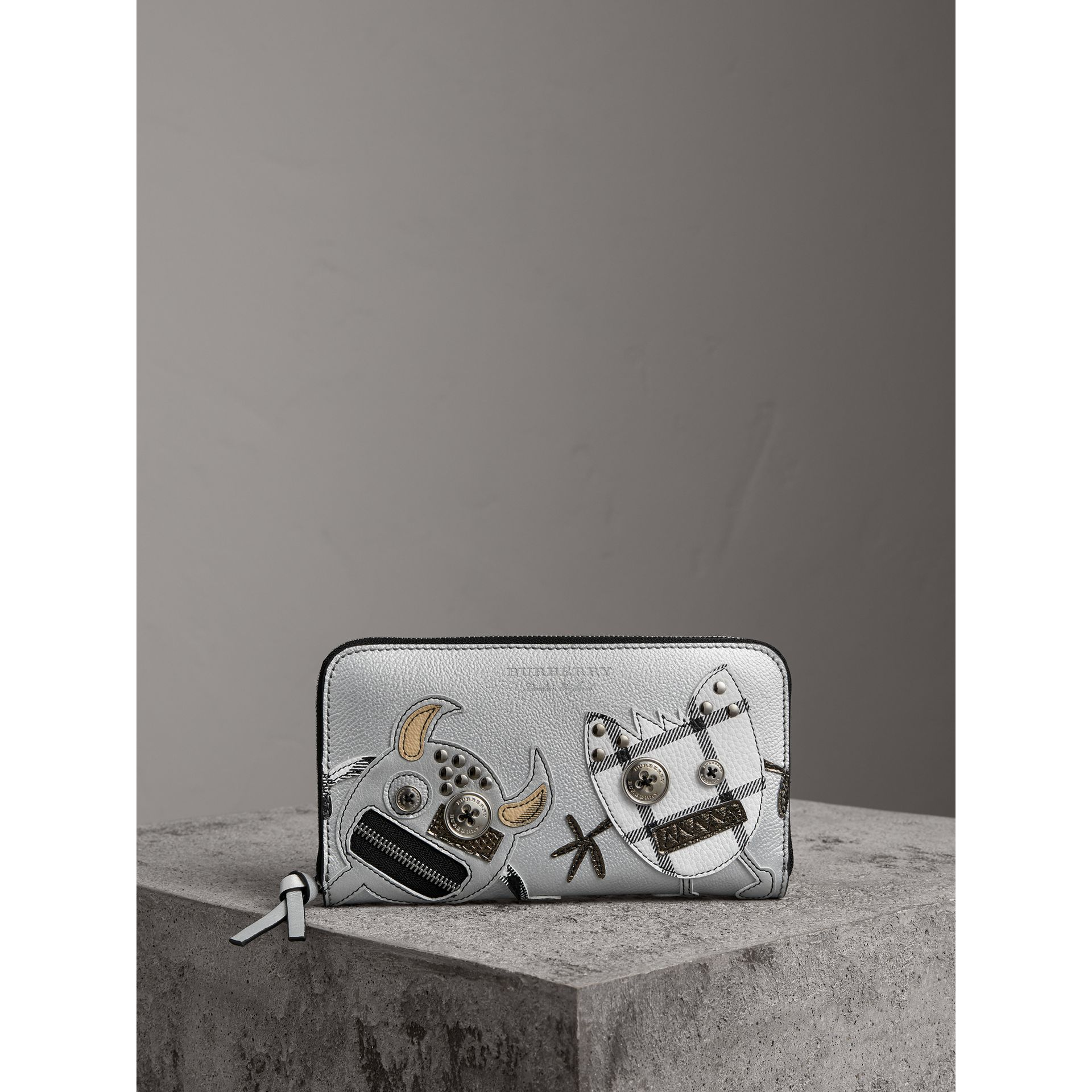 Creature Appliqué Metallic Leather Ziparound Wallet in Silver - Women | Burberry Australia - gallery image 4