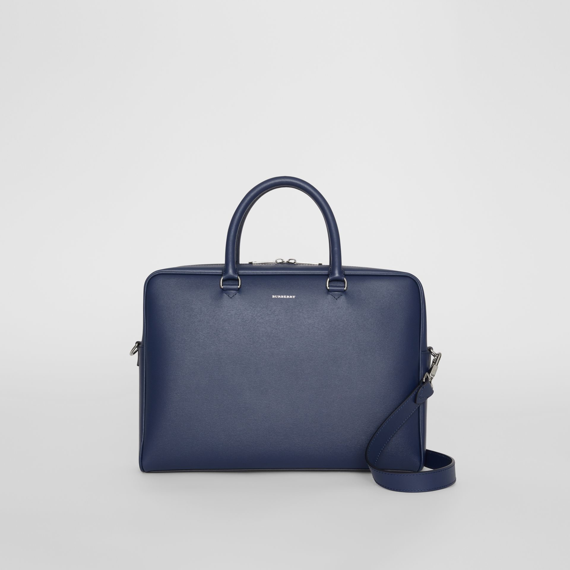 London Leather Briefcase in Navy - Men | Burberry - gallery image 0
