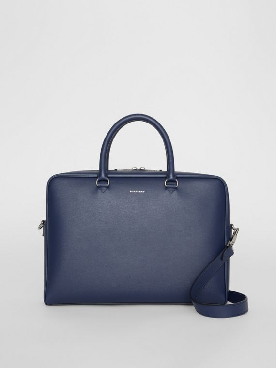 London Leather Briefcase in Navy