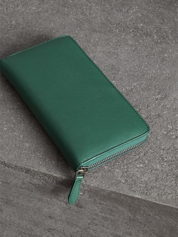 Grainy Leather Ziparound Wallet in Dark Cyan - Men | Burberry - cell image 2