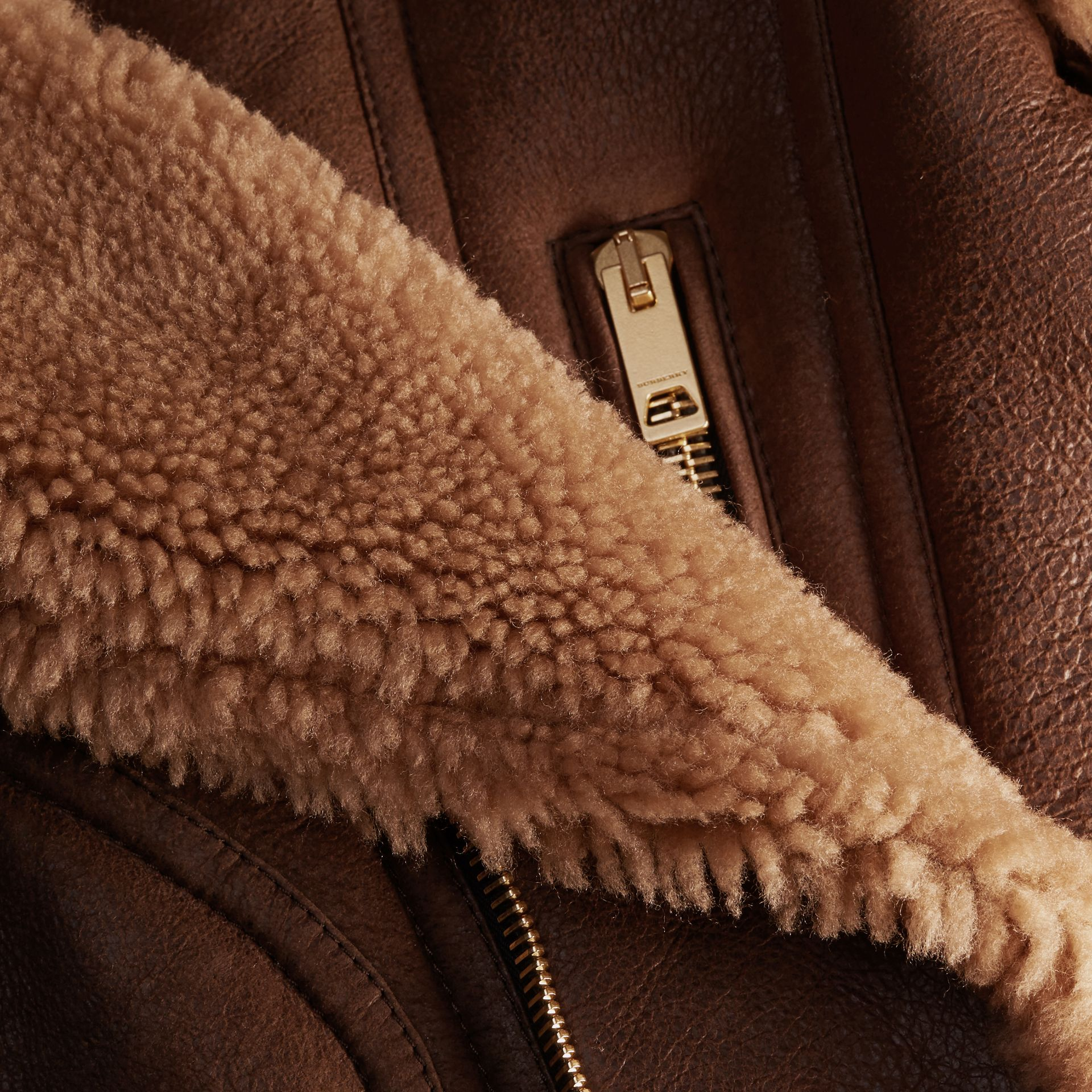 Dark tan/white Sculptural Shearling Flight Jacket - gallery image 2