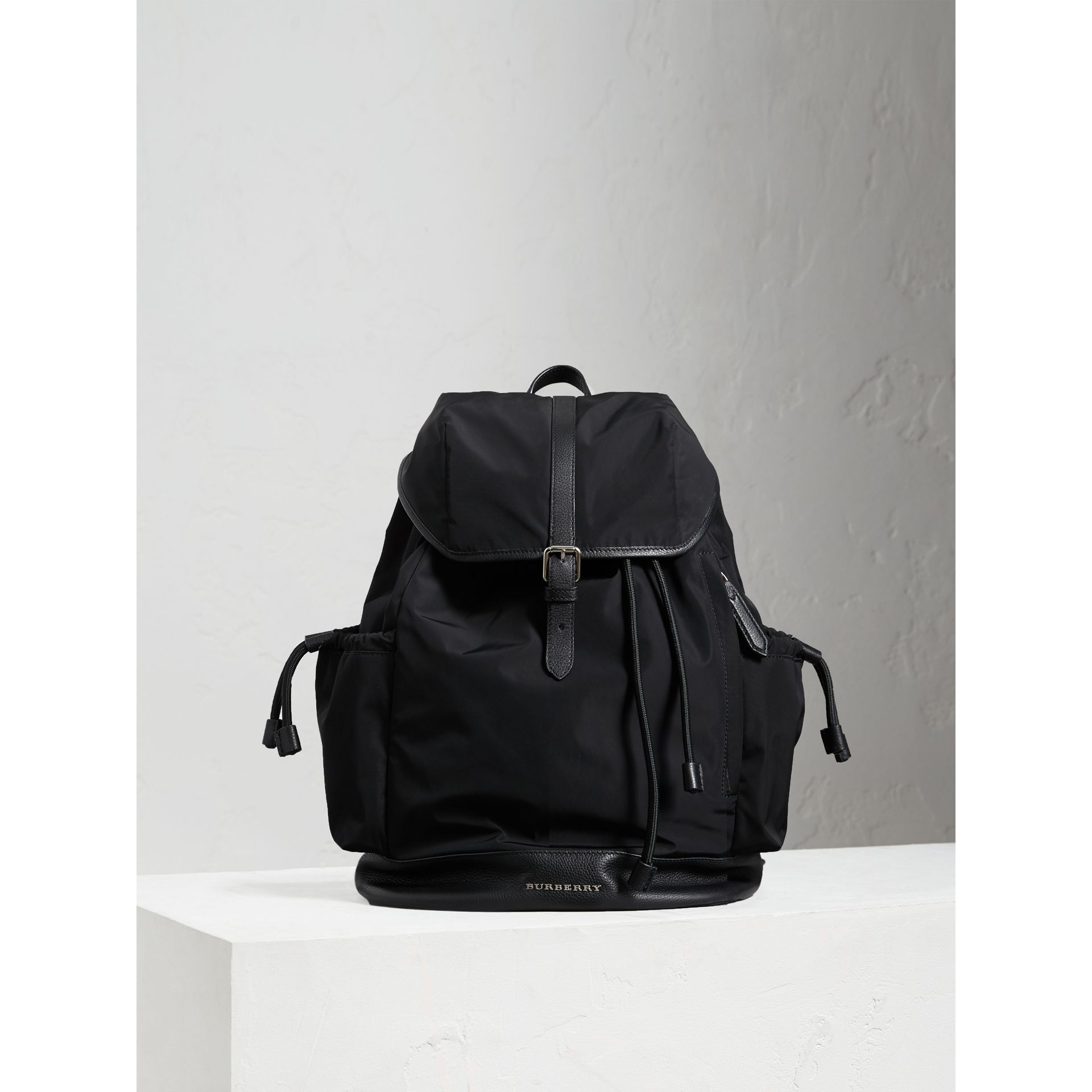 Leather Trim Baby Changing Rucksack in Black | Burberry - gallery image 5