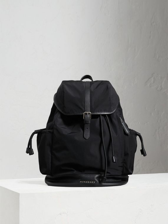 Leather Trim Baby Changing Rucksack in Black | Burberry Singapore - cell image 3