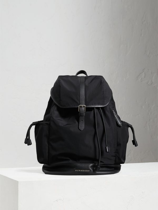 Leather Trim Baby Changing Rucksack in Black - Children | Burberry United Kingdom - cell image 3