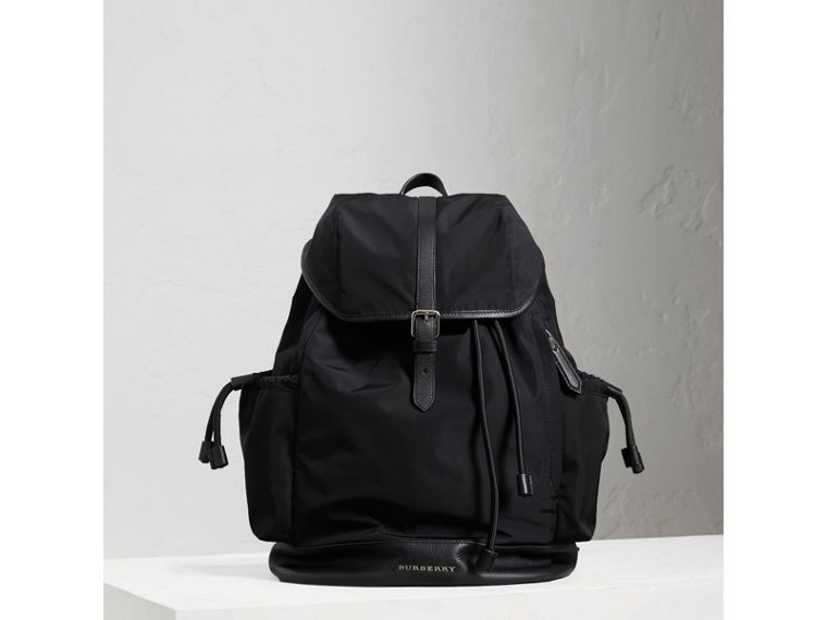 Leather Trim Baby Changing Rucksack in Black | Burberry Singapore - cell image 4