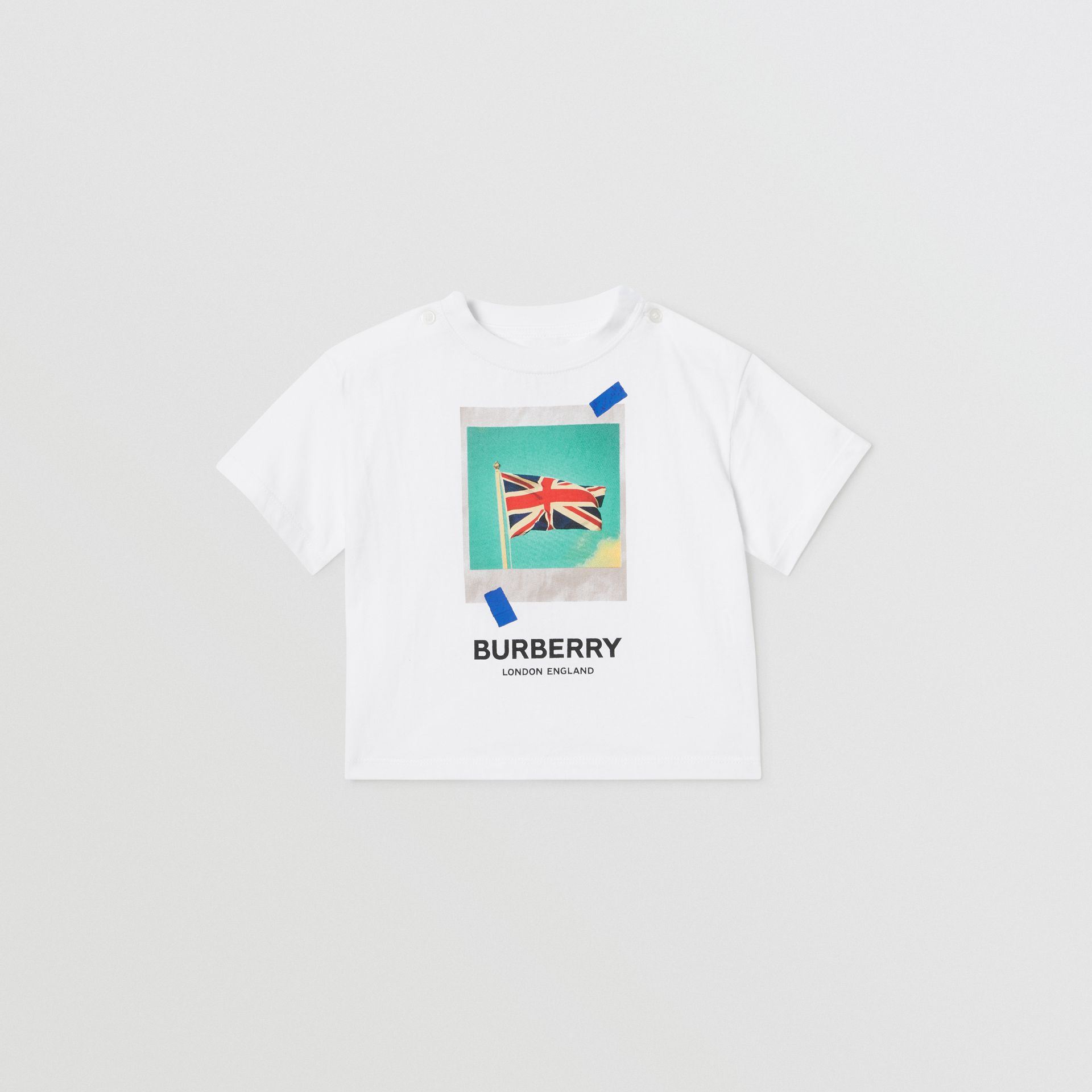 Polaroid Print Cotton T-shirt in White - Children | Burberry Australia - gallery image 0